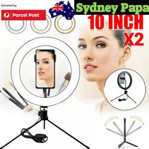 "2pcs 10"" LED Ring Light Dimmable Lighting Phone Selfie Tripod Makeup Live Lamp"