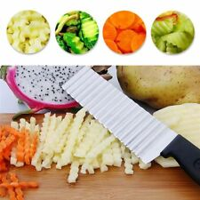 Potato French Fry Cutter Steel Kitchen Slicing Fruits Potato Wave Knife Chopper