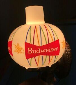 Vintage Budweiser Wall Lamp w/ Glass Globe - WORKS