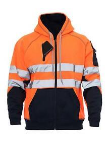 New Hi Viz Vis High Visibility Jacket Hoodie Work 3 Zip Hooded sweatshirt Fleece