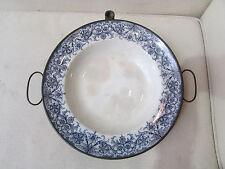 ancienne assiette chauffe plat chaufferette en faience et ferblanterie