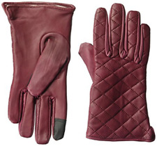 NIP Dwellbee Women's Large Quilted Stitch Burgundy Leather Gloves