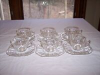 Set of 6 Federal Columbia Depression Glass Cups & Saucers