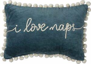 I LOVE NAPS Teal Velvet Accent Throw Pillow Primitives by Kathy 10 x 15 pom trim