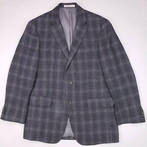 Joseph Abboud Windowpane Sport Coat Tailored Fit Linen 38R Gray Blue Check Mens
