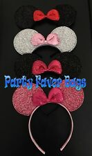 NEW 4 pc Minnie Headbands Shiny Black Red Pink Bow Sparkly Silver Ears Kid Adult