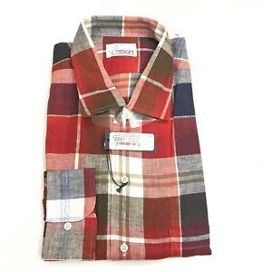 Heron Haberdashery Men's Linen Sport Shirt Plaid Red 2XL NWT