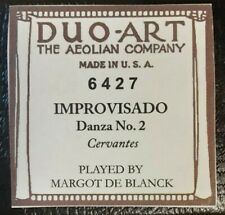 IMPROVISADO DANZA NO. 2 DUO-ART RECUT REPRODUCING PIANO ROLL