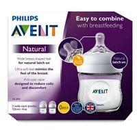 Philips Avent Bottle Natural Newborn 125ml/4 oz Feeding Bottle Pack Of 2 New