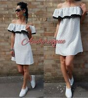 ZARA WHITE POLKA DOT FLOWING DRESS SIZE M UK 10