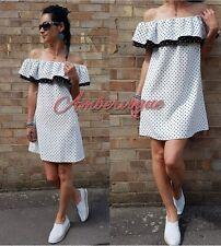 ZARA OFF WHITE POLKA DOTS OFF THE SHOULDER FRILL DRESS SIZE S UK 8