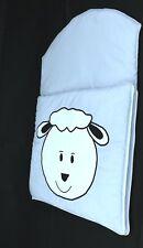 Baby, newborn sleeping bag nap mats 0-6 m. Soft warm baby blue with white sheep
