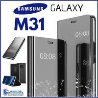 Coque Flip pour Samsung Galaxy M31 Étui Livre Noire A Miroir Clear View 360°