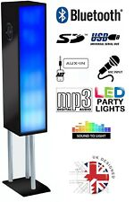 Large Bluetooth Phone & Tablet 2.1 Tower Speaker W/ Disco Party Lights - BLK