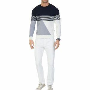 NAUTICA NEW Men's Frost White Cotton Athletic-fit Straight Leg Jeans 38 TEDO