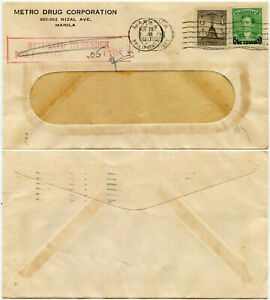 PHILIPPINES METRO DRUG CORP PRINTED ENVELOPE RETURNED FOR POSTAGE DUE 1950