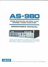 Akai  Bedienungsanleitung user manual owners manual  für AS- 980 englisch