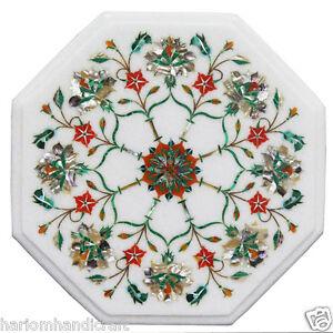 "12"" Beautiful Marble Coffee Table Top Carnelian Pauashell Gem Mosaic Inlay H2359"