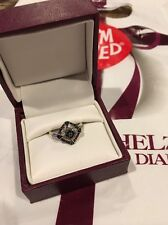 Helzberg Sterling Silver Blue Black Square Diamond Ring Sz 7.5 Lifetime Warranty