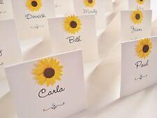 Personalised Handmade Sunflower Wedding Place Cards x 10