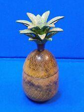 Brass Pineapple Stick Candle Holder India Lid Trinket Box Green Leaf Decorative