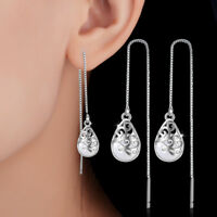 Women Lady Fashion 925 Sterling Silver Opal Tassel Ear Chain Dangle Earrings