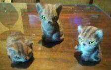 3 Vintage Josef Originals Flocked Kitten Tabby Cat Figurine Japan