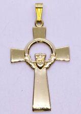 Solva 14K Solid Yellow Gold Polished Irish Claddagh Heart Cross Pendant IRELAND