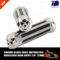 """For Yamaha FZR YZF 600 600R R1 R6 R6S - Skull 22mm 7/8"""" Hand Grips Chrome"""