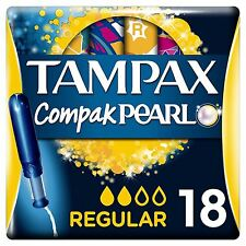 Tampax Compak Pearl Regular Tampons Applicator Women Leak Protection Pack of 18