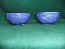 Varagas Luberon Blue (Cobalt) Soup Bowls SET OF TWO- Made in France