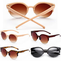 Women Men Eyewear Retro Eye Cat Round Mirrored Sunglasses Outdoor essential