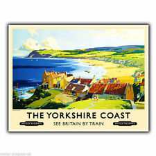 YORKSHIRE COAST by TRAIN Travel Advert METAL WALL SIGN PLAQUE poster print