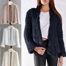 New Top Quality Women 100% Real Knitted Knit Rabbit Fur Jacket Short Coat