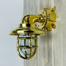 Brass Bulkhead Dock Light With Brass Rain Cap
