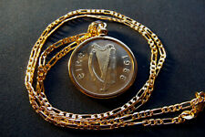 """1988 IRISH PONY HORSE COIN PENDANT on a 24"""" 18K Gold Filled Figaro Chain"""