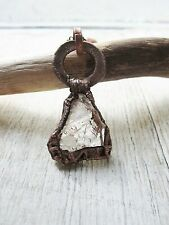 Reversible Raw Quartz Crystal Electroplated Large Copper Pendant Rough Jewelry