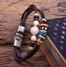 G73 Silver Surfer Hemp Leather Wood Beads Wristband Bracelet Cuff Nature Stone