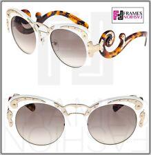 PRADA MINIMAL BAROQUE Swirl PR07TS Ivory Brown Havana Gold Sunglasses 07T