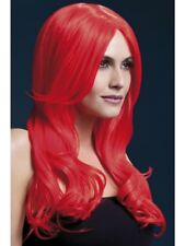 Neon Red Fever Khloe Wig, 26inch/66cm Adult Womens Smiffys Fancy Dress Costume