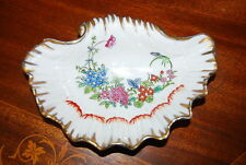 SUPERB OLD PARIS STYLE GOLD AND HAND PAINTED ENAMELED FLOWERS SHELL OVAL DISH #1