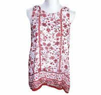 Max Studio Womens Top Blouse A-Line Sleeveless Lined Red White Floral Size M