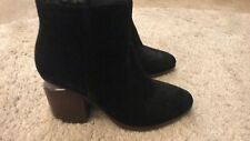 ALEXANDER WANG Gabi Black Suede Leather Silver Cut Out Metal Ankle Bootie 36