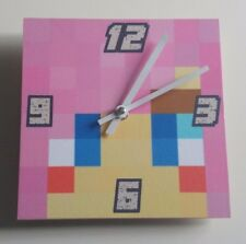 wooden Minecraft style Pink shadow lady Handmade Wall Clock Gift Kids Bedroom
