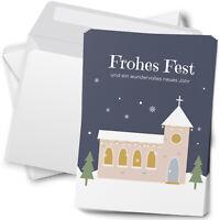 15 Weihnachtskarten mit Umschlag Set Grußkarten Weihnachten Motiv Kirche