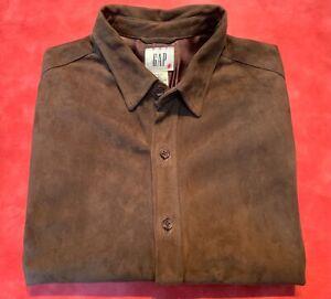 Suede Leather Handsome Button up Shirt Dark Brown  XL