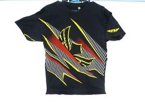 Fly Racing Men's Crest Logo Black Short Sleeve Tee-Shirt Size Medium