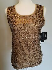 Jones New York Collection Small Park Avenue Gold Embellished Shell Tank Top New