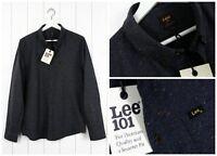 NUEVO LEE 101 con botones Camisa Gris Oscuro MELE Corte Normal vnt S/M/L/XL /