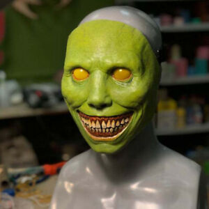 Creepy Halloween Green Exorcist Face Mask Smiling Demons The Evil Cosplay  Props